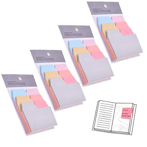 Divider Sticky Notes 90 Ruled Notes with 6 Color and Size, 4 Pack Index Self Stick Notes Take Notes and Mark Pages for Home Office School