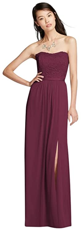 4e9e2f19ccd Mesh and Lace Long Strapless Bridesmaid Dress Style F18095 at Amazon  Women s Clothing store