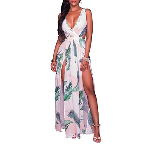 (LKOUS Sexy Sleeveless V-Neck Split Long Beach Dress Floral Print Bodycon Maxi)