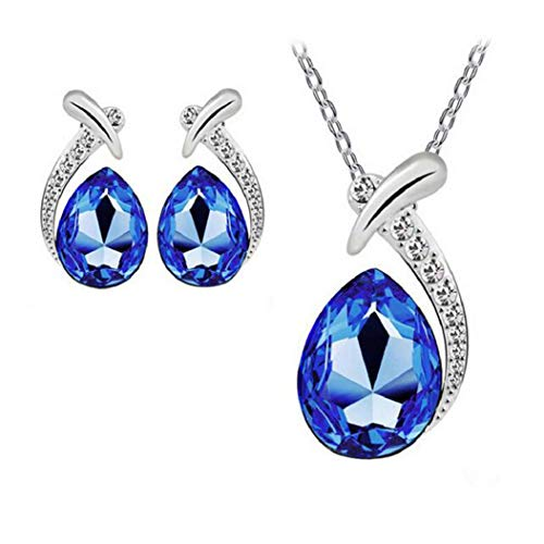 Nobio Women's Shiny Crystal Rhinestone Silver Plated Pendent Chain Necklace Stud Earring Costume Fashion Jewelry Set (Royal Blue)