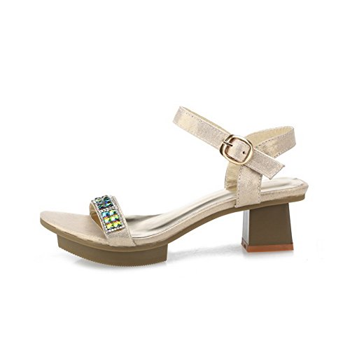AmoonyFashion Womens Open Toe Low Heels Solid Buckle Sandals Gold Cn26Mo
