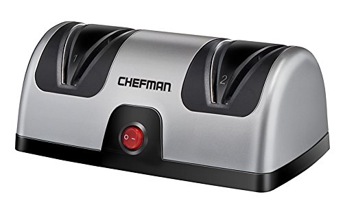 (Chefman Electric Knife Sharpener, 2 Stage Diamond Coated Sharpening Blades, To Sharpen Kitchen, Chef, Paring, Pocket and Steel Knives, Better than Sharpening Stone, Silver/Black)
