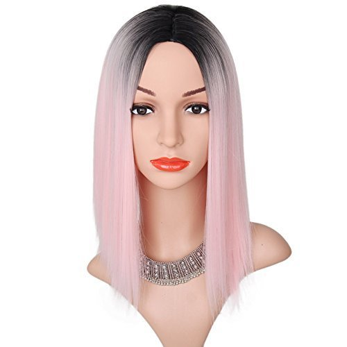 Tsnomore Trendy Dapper Short Bob Wig Straight With Women Kanekalon Bob Wig (Ombre Pink)