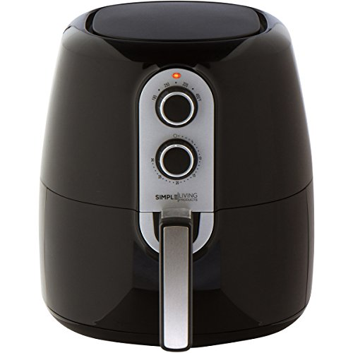 Simple Living 5.2L XL Air Fryer with Cooking Divider, Rack & Recipe Book. Perfect Sized Family Air Fryer