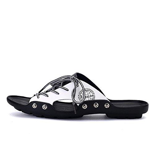 de Suela Cordones para white Antideslizante Blanda Zapatillas Cordones Cuero de Ocasionales con PU de Black Zapatillas de Hombre Playa wqBw8S