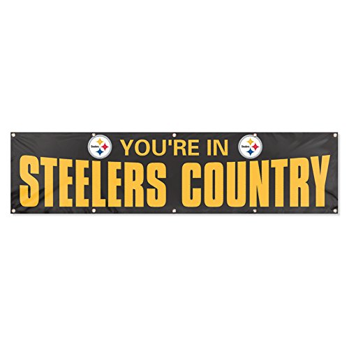 - Party Animal Pittsburgh Steelers 8'x2' NFL Banner (Black)