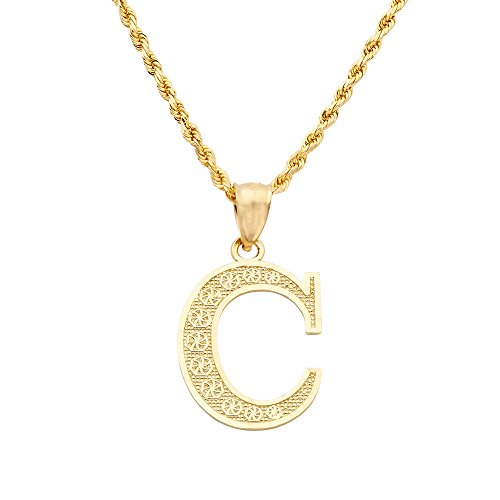 MR. BLING 10K Yellow Gold Diamond Cut A to Z Alphabet Initial Letter Charm Necklace Pendant (Small) (C) ()