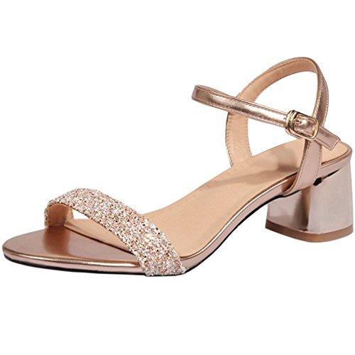 Zapatos Punta Ancho Moda Tacon Ancho Mujer Oro Abierta Medio Verano RAZAMAZA xzwZqA