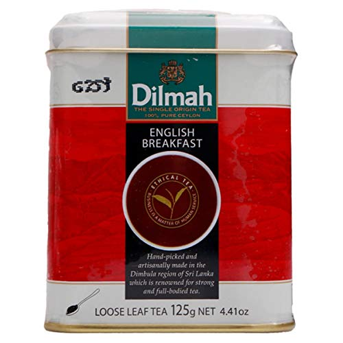 Dilmah English Breakfast Tea Loose Leaf Tea 125g - Finest Pure Ceylon Black Tea Box Sri Lanka Dilmah in Foil Pouch - 125g (4.4 oz)