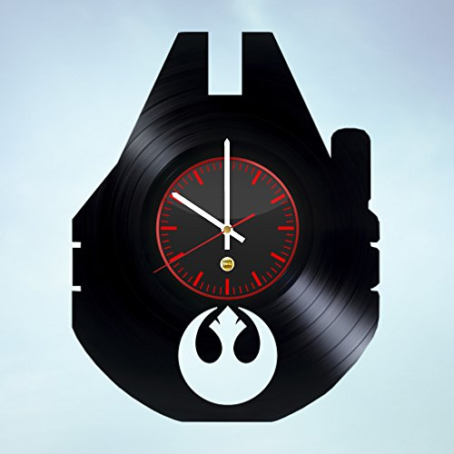 Fictional Spaceship Record Wall Clock - Get unique of bedroom wall decor - Gift ideas for boys and men – Galactic Movie Art (Princess Leia Costume Ideas)