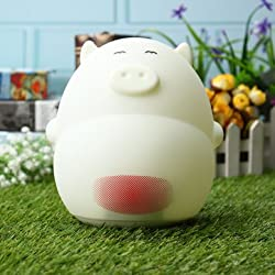 Lovely Cartoon Pig LED Night Sound Control Table Lamp with Alarm Clock USB Rechargeble - Decorative Lights Decorative Table Lamp - (02)