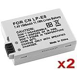 SODIAL(TM) 2 ¡Á Batterie au lithium LP-E8 pour Canon EOS Rebel 550D, Rebel T2i