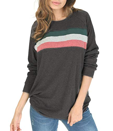 (Women's Color Block Long Sleeve Loose Casual Crewneck Sweatshirt Tunic Tops Dark Grey S)