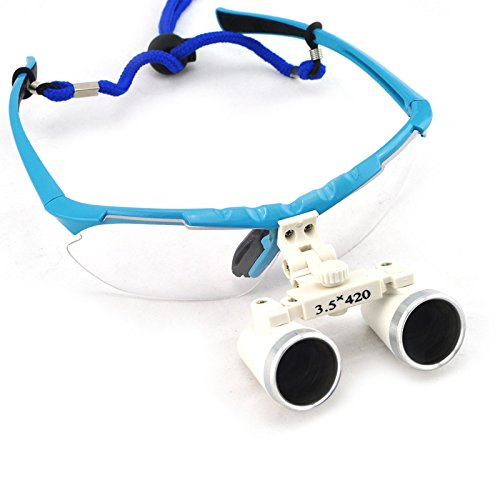 Carejoy Dental Surgical Medical Binocular Loupes + LED Head Light Lamp 3.5X 420mm Shipping from US (Blue)
