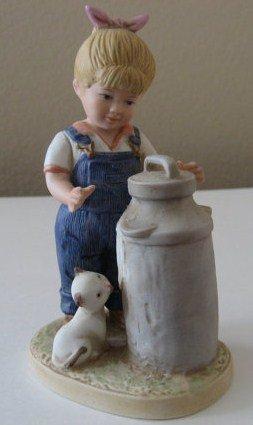 1985 Vintage Homco Denim Days Morning Chores Boy Figurine #1501