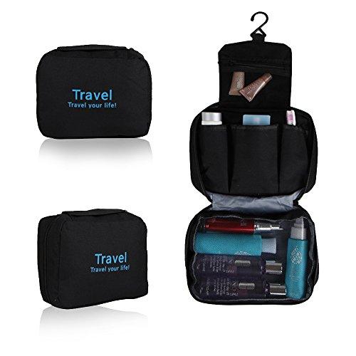Cosmetic Storage Bag, Refoss Hanging Travel Toiletry Kit Organizer as Women Makeup or Men Shaving Kit for Camping Household and Tourism - Black
