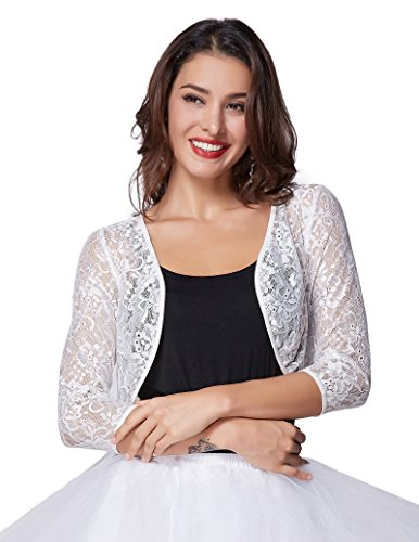 3/4 Length Sleeve Bolero (Kate Kasin Womens Floral Lace Bolero 3/4 Sleeve Shrug Open Front (White, M) KK430)
