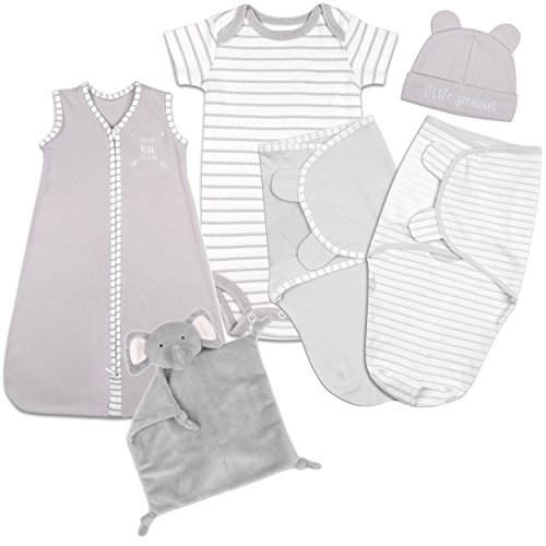 Baby Layette Gift Set - Grey Sleep Bag, Swaddles, Bodysuit, Hat, and Blanket by The Peanut Shell