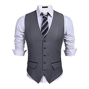 Best Epic Trends 41Jzty-Pp3L._SS300_ COOFANDY Men's Business Suit Vest Slim Fit Dress Vest Wedding Waistcoat
