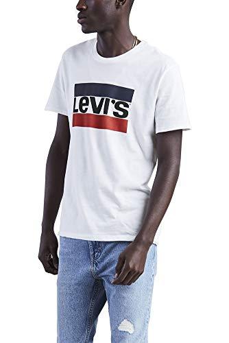 Levi's Men's Graphic Logo T-Shirt, (Large, White Sportswear Logo)