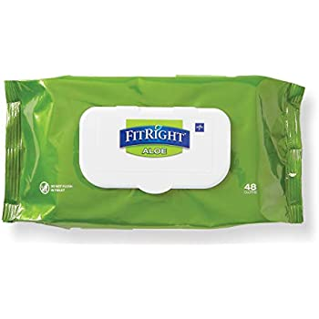FitRight Aloe Personal Cleansing Cloth Wipes, Scented, Pack of 48, 8 x 12 inch Adult Large Incontinence Wipes