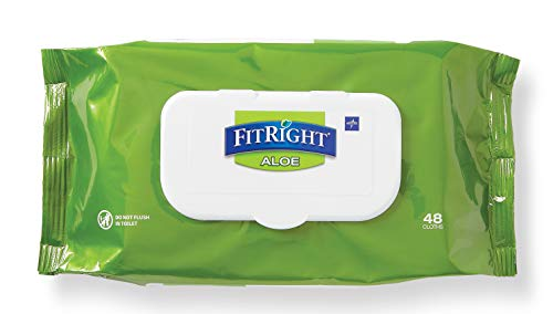 FitRight Aloe Personal Cleansing Cloth Wipes, Scented, 576 Count, 8 x 12 inch Adult Large Incontinence Wipes ()