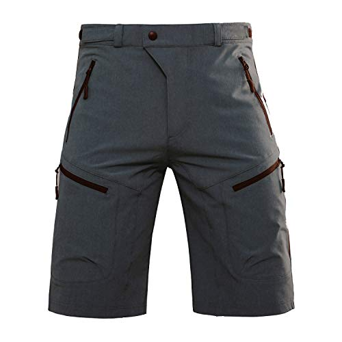 Hiauspor Men-Hiking-Climbing-Cargo-Shorts-Short (Black/Grey M (Waist: 30-32