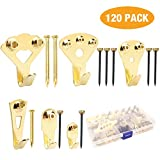 Picture Hangers, Picture Hanging Kit,120 Pieces Picture Photo Frame Hooks for Heavy Duty Picture Frame Hanging with Wall Mounting Nails Supports 10-100 lbs Box Included by MANGZ
