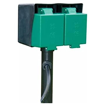 Attractive GARDEN/OUTDOOR SPIKE POWER OUTLET 2 SOCKETS 240V MAINS
