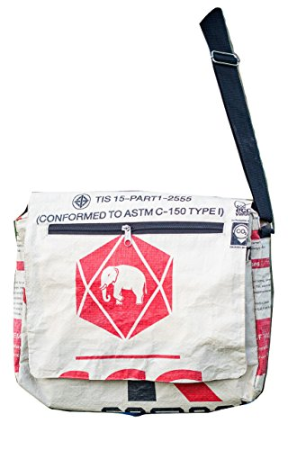Eco Friendly Elephant Messenger Bag/Satchel,Handmade from Recycled Cement Bags