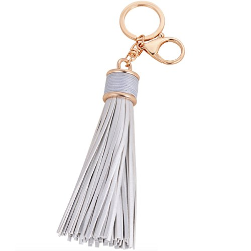 Elesa Miracle Girl Women Leather Tassel Keychain, Handbag Wallet Accessories, Car Key Chain Rings -