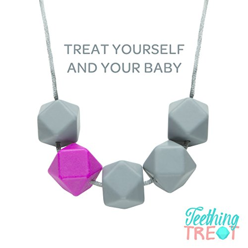 TeethingTreat Baby Safe Teething Necklace for Mom, Silicone Teething Beads, 100% BPA Free with Designer Gift Box, Pink
