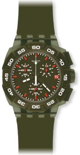 Swatch Men's SUIG401 Rubber Analog with Green Dial Watch