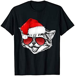 Funny Cat  Hilarious Santa Claus Hat Christmas T-shirt | Size S - 5XL