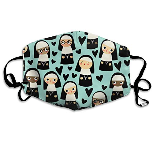 KUYTZDCUTE Nuns On Blue Mouth Mask Dust Face Mask Washed Reusable Outdoor Activities Windproof 7 X 4.3 Inch. ()