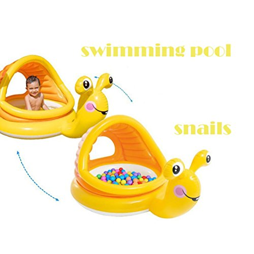 Toddler Paddling Pool with Canopy Sun Shade Swimming Inflatable Pool Anti UV Snail Shape (124x109x7cm) (Multicolor) by JPOQW (Image #3)