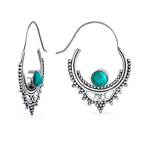 (Synthetic Turquoise Silver Plated Brass Bali Hoop Earrings)