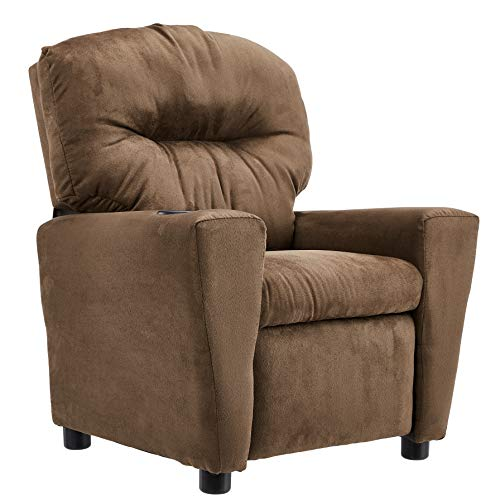 JC Home BT-7950 Microfiber Kids Recliner with Cup Holder, Brown