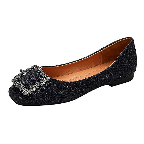 Meeshine Womens Buckle Slip On Loafer Casual Low Flats Square Toe Shoes Glitter Navy 6 ()