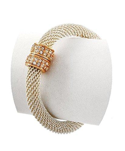 Shoppe23 Ivory Slinky Mesh Bracelet Enamel Coated Magnetic Closure Boxed (#108)