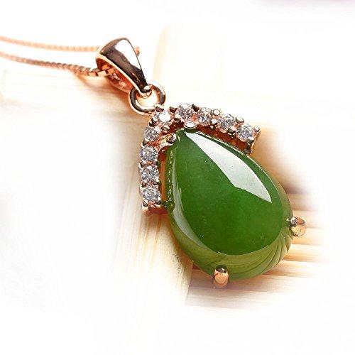 Légère Divine en argent sterling 925naturel hetian Jade–Collier Femme–Pendentif avec chaîne en argent 45,7cm emballé par la superbe boîte à bijoux