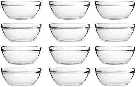 Juego de 12 cuencos apilables Ensalada, vidrio, 9 cm: Amazon.es: Hogar