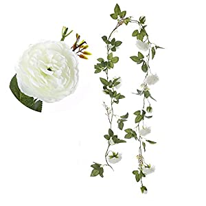 Felice Arts 4pcs Artificial Flowers 8.2 FT Fake Plastic Fabric Silk Artificial Rose Flower Wisteria Ivy Hanging Vine Garland for Home Wedding Table Decoration 5