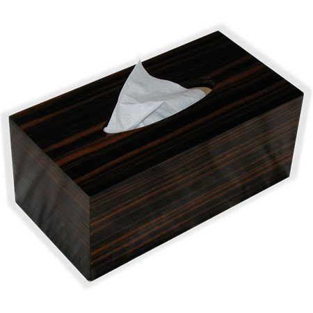 Wooden Tissue Box Cover In Reconstituted Striped Ebony Rectangular Regular Size - Kleenex - Where Can Polaroid I Buy