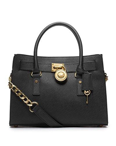MICHAEL Michael Kors Hamilton East West Satchel Handbag in Glazed Saffino Black Leather