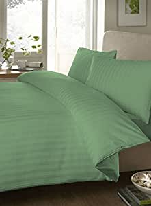 """Egyptian cotton Luxurious Fitted Sheet with 28"""" Deep Pocket 600 TC Stripe by Elegant Bedware ( Olympic Queen , Sage)"""