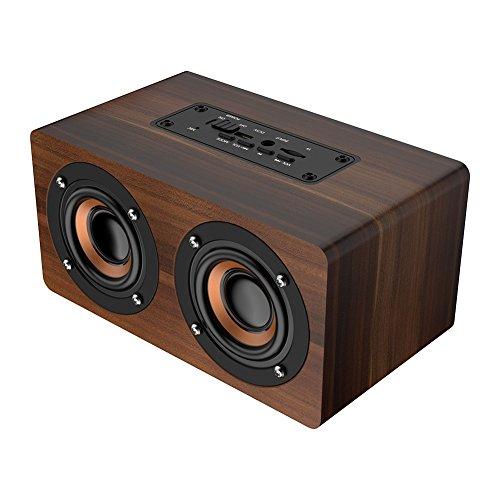 Haofy Altavoz Bluetooth de madera portátil Subwoofer Radio FM HiFi Reloj con alarma de la música Subwoofer estéreo para el...