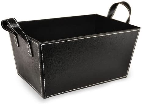 Amazon Com The Lucky Clover Trading Faux Leather Handles Medium Basket Black Home Kitchen