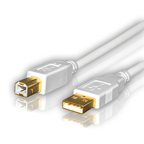 Sentivus USB Kabel - 3m (USB 2.0-Kabel weiß, A-Stecker auf B-Stecker) Druckerkabel
