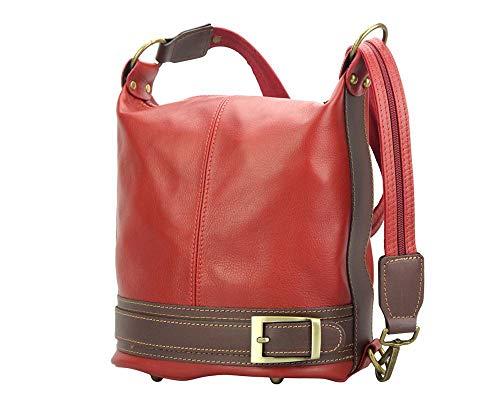 Cuir Sac Dos Transformable Épaule Porté Leather En À Rouge Market Caterina marron Sacs 300 Florence q47gaq
